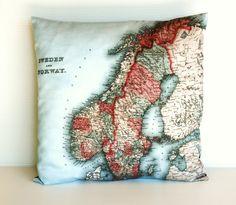 Decorative map cushion SWEDEN & NORWAY map by mybeardedpigeon