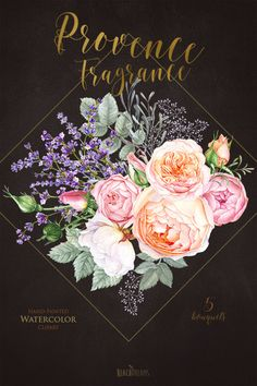 lavender Roses Flowers Watercolor Floral elements by ReachDreams