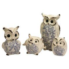4 Piece Knight Owl Family Statuette Set