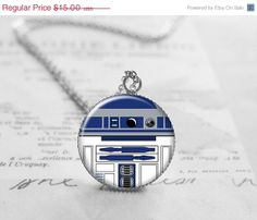 R2D2 Necklace, Star Wars Jewelry, Black Friday Sale, Geek Pendant Charm, Cyber Monday Sale, Geekery Jewelry N146
