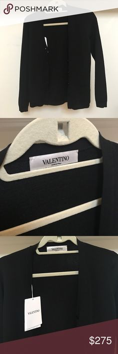Black Valentino Cardigan Valentino cardigan / New with tags / Classic black 100% virgin wool (beautifully soft) / Made in Italy / Extra button included Valentino Sweaters Cardigans