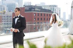 Malaparte Terrace bride and groom seconds before first look Toronto Wedding Photographer, Rooftop, Perfect Wedding, Terrace, Wedding Planner, Boston, Groom, Bride, Wedding Dresses