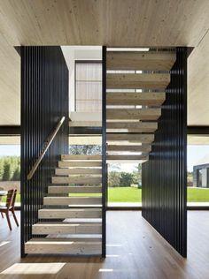 rampe d'escalier design moderne, escalier en bois, rampes d'escalier