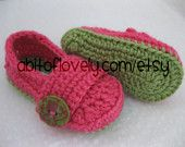 New Style!  Baby Infant Girl Shoes / Slippers / Booties - Green & Pink Muti - YOUR choice size - (newborn - 12 months) - photo prop - children  A bit of Lovely on Etsy  baby shower gift