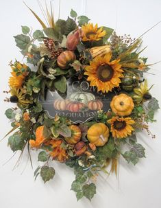 Gold Sunflower Silk Floral Fall Wreath with Welcome Easy Fall Wreaths, Autumn Wreaths For Front Door, Diy Fall Wreath, Door Wreaths, Wreath Crafts, Wreath Ideas, Diy Christmas Lights, Decorating With Christmas Lights, Christmas Wreaths