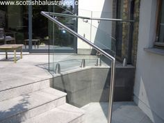 Frameless Glass Balustrade using Mod 6000 Glass clamps with side mounted stainless steel handrail. Balustrade Design, Stainless Steel Balustrade, Frameless Glass Balustrade, Glass Balcony, Balustrades, Glass Stairs, Stair Handrail, Stairways, Architecture