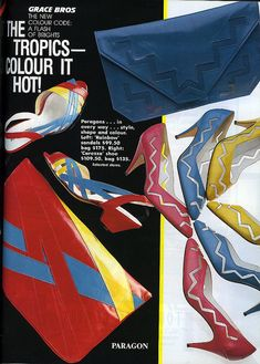 Advertisement for shoes & handbags by Paragon from Vogue, September 1985. Interesting shapes and contrasting colours, very key within the 1980s.