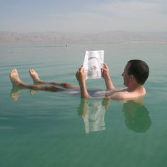 Floating in the dead sea. Only in Israel.