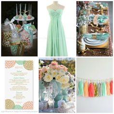 Mint, Peach, and Gold Wedding