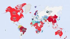 Here's a world map showing the most Googled car manufacturer for each country