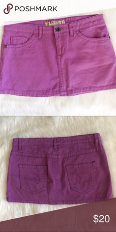 "Roxy purple magenta camping denim mini skirt Excellent condition, size 7. Waist across 16"" Waist down 11.5"" Roxy Skirts Mini"