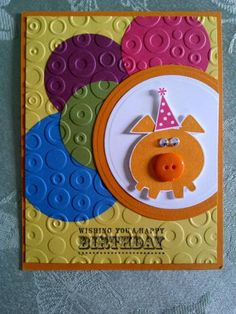Cute & Colorful Embossed Circles Birthday Card...with a pig in a party hat!