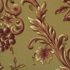 Red and Brown Orchard Fruit Toile Wallpaper
