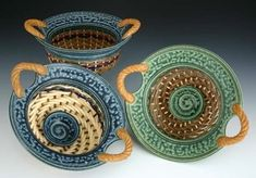 Steve Kostyshyn Pottery & Mixed Media - michigan artists gallery- Clay and basketry combined.