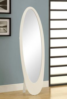 Monarch White Contemporary Oval Cheval Mirror - on sale for $176!