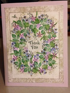A beautiful card by Dorthe Risom using Rubber Stamp Tapestry Floral Wreath Peg Stamp Set http://www.rubberstamptapestry.com/Floral_Wreath_Set_p/sfl34011.htm