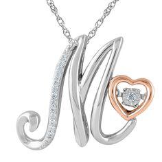 International 925 Sterling Silver 1/10ct T.W. 'Alphabet M' Pendant
