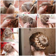 getting hot now. If you have long hair, you might want to do your hair up and make a bun. Here is a super cute idea to make a unique braided bun hairstyle. What makes it so special is that the braids are woven around the ponytail and then & Unique Braided Hairstyles, Pretty Hairstyles, Girl Hairstyles, Hairstyles Haircuts, Braids With Weave, Beautiful Braids, Braided Ponytail, Bun Braid, Twisted Bun