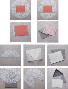 fabulous idea for the inside of wedding invites or thank you cards - LOVE IT!!!   Doily envelope liners