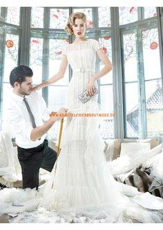 2013 Sexy Luxuriöse brautmode aus Satin mit Spitze Ärmel Meerjungfrau
