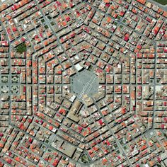 Grammichele is located in Sicily, in southern Italy. The town was constructed in 1693 with a distinctive hexagonal street plan after an earthquake destroyed the nearby, old town of Occhialà.