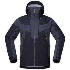 Bergans Hemsedal Hybrid M Jacket Emporio Armani, The North Face, Fabric Combinations, Ski Goggles, High Collar, Color Blocking, Motorcycle Jacket, Pure Products, Zip