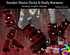 [S.K.] Sneaker Skater Derby & Skully Leg Warmers