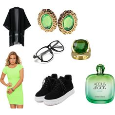 Green celebration by #racheldenisnefeke on #Polyvore featuring #fashion, #jewelry, #accessories, and #perfume. #green #black #emerald #fashionblogger #styleblogger #trending