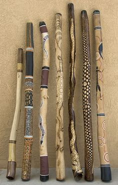 Didgeridoos decorated with aboriginal art