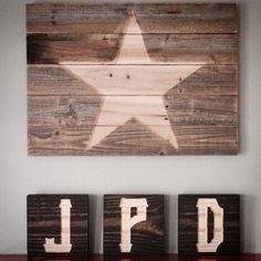 Silhouette Monogram Letter Blocks Rustic Man Cave by ShopAtBear