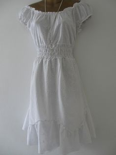 NEW Size 18 White Broiderie Anglaise Boho Gypsy Style Cotton Dress Fully Lined | eBay