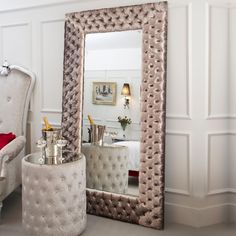 Large Modern Button Upholstered Velvet Wall Mirror ideal for a guest bedroom and a real wow factor in any bedroom decor. Plans Loft, Luxury Furniture, Furniture Design, Home Living, Living Room, Baroque Mirror, Dressing Mirror, Ikea, Bedroom Decor