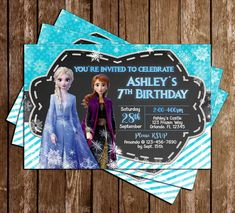 Disney's Frozen 2 - Birthday Party - Thank You Card Birthday Stuff, 8th Birthday, 2nd Birthday Parties, Birthday Party Invitations, Customized Invitations, Ticket Design, Disney Frozen 2, Diaper Raffle Tickets, Frozen Party