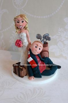 Bride and Groom cake topper  - Cake by Zoe's Fancy Cakes