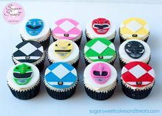 12 Mighty Morphin Power Rangers Cupcake Toppers by ShopSugarSweet on Etsy https://www.etsy.com/listing/218617250/12-mighty-morphin-power-rangers-cupcake