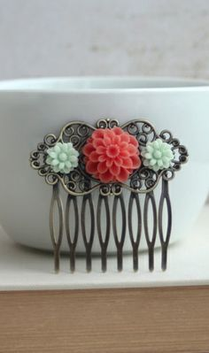 Coral & Mint Flower Collage Hair Comb, Bridesmaids Gift. Coral and Mint Wedding.