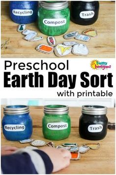 This Earth Day Sorting Activity is easy to make and a fun way for toddlers and preschoolers to learn how to sort items for compost, recycle and trash. Great activity for Earth Day. Free Printable included. #EarthDay #PlanetEarth #Earth #CraftsForKids #ToddlerActivities #PreschoolActivities #Sorting #SortingActivities #Compost Activity #Recycle Activity #EarthDayActivity #HappyHooligans