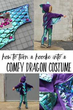 fabric crafts baby Sew up a diy dragon costume with this easy tutorial! Pretty scale fabric makes it easy and your kids will be able to wear this way after Halloween is over. See how to sew dragon wings fast in this diy hoodie costume idea. Diy Halloween Costumes, Halloween Party, Halloween Sewing, Costume Ideas, Diy Costumes For Kids, Halloween Stuff, Halloween Costumes For Children, Vintage Halloween, Halloween Makeup