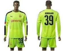 Dortmund #39 Bonmann Shiny Green Long Sleeves Goalkeeper Soccer Country Jersey