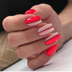 Acrylic Nail Designs, Acrylic Nails, Square Nail Designs, Line Nail Designs, Lines On Nails, Line Nails, Striped Nails, Hot Nails, Square Nails