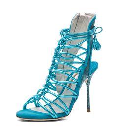 Sophia Webster - Lacey Tie Up Heel in Turquoise Metallic