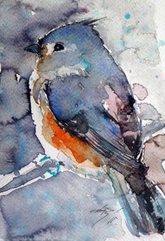 """Saatchi Art Artist Kovacs Anna Brigitta; Watercolor Painting, """"Titmouse III"""" #art"""