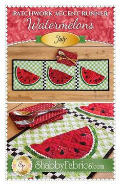 Watermelon Quilt, Watermelon Patch, Patchwork Quilt Patterns, Patchwork Designs, Patchwork Ideas, Fall Sewing, Shabby Fabrics, Summer Quilts, Table Runner Pattern