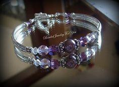 Amethyst Pearl Bangle Bracelet: Crystal by beadedjewelryforyou