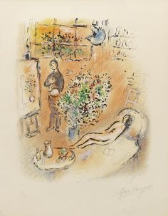Marc Chagall (Russian/French, 1887-1985) L'atelier ensoleillé (Mourlot 712) Lithograph printed in colours, 1974, on Arches, signed and numbered 7/50 in pencil, printed by Fernand Mourlot, Paris, published by Editions Maeght, Paris, with full margins, 450 x 350mm (17 3/4 x 13 3/4in)(I)