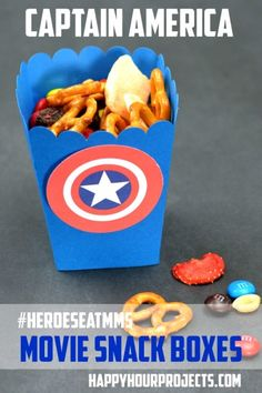 Captain America Movie Treat Boxes at www.happyhourprojects.com #HeroesEatMMs #CollectiveBias #shop Captain America Party, Captain America Birthday, Capt America, 3rd Birthday, Pokemon Birthday, Avengers Birthday, Movie Party, Partys, Superhero Party