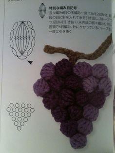 Esquema de racimo de uvas de ganchillo