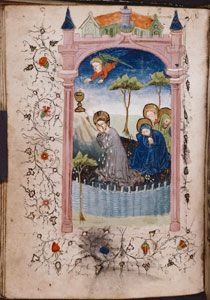 Prayer book in Dutch. Miniature of the Agony in the Garden, with architectural frame and floreate border. (ca. 1440)