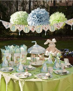 adorable for a little one's birthday celebration, except add pops of pink instead of blues and lavenders