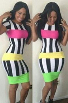 Hot Sale Bandage Accent Stripe Midi Bodycon Dress